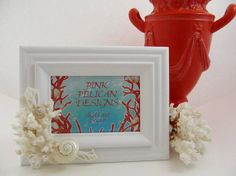 Beach Decor Sea Shell Frame with White Coral, Cut Chula and Pearled Delphinula Shells