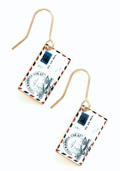 Postage Do Earrings. Any look is as exciting as a parcel at your door when these dangly earrings are a part of the outfit! #white #modcloth