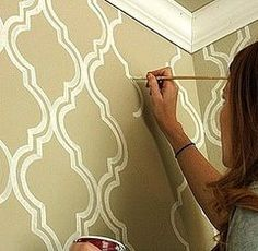 Before and After: Moroccan Bathroom Wall Stencil