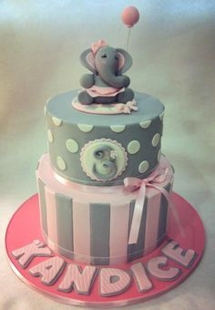 The elephant was requested by the customer.. she supplied a pic of an elephant made my Lucy's cakes ( who is amazing).. My elephant doesn't hold a candle to hers. lol