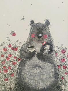 Bear Pictures, Nature Illustration, Bear Art, Art For Art Sake, Beautiful Paintings, Pet Birds, Cute Art, Collages, Comic