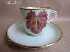 MINTONS CUP & SAUCER - SAGE GREEN WITH HAND PAINTED LEAF DESIGN - VINTAGE #CupsSaucers