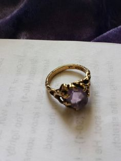 Amethyst 10KtGoldNugget RingM-CO 10Kt Mark by DWedgeCreations
