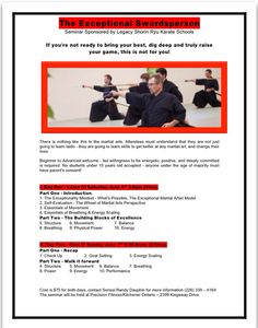 Iaido seminar in Kitchener June 6 and 7. Samurai - martial arts - katana - sword - Japan.