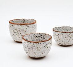 Rustic Spice Bowl Set - Stoneware Bowls - Speckled Pottery - Ceramics and Pottery - Ceramic Bowls