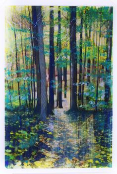 Tall trees Autumn pathway art nature by dahliahousestudios on Etsy