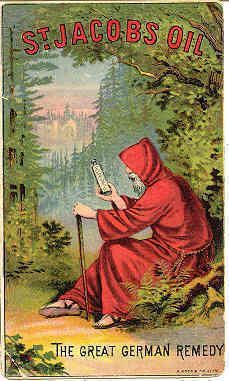 """ST Jacobs Oil The German Remedy Victorian era Trade Card. A cure for most every ailment known to man. Produced and sold by Charles A. Volger, London, England. Card measures 5"""" x 3"""" and is in very Good condition. Karodens Vintage Post Cards www.bonanza.com/booths/karoden"""
