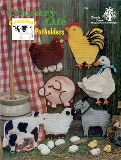 crochet rooster free patterns | Farm Barnyard Animal Potholder Crochet Patterns 1994 | eBay