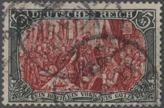 German Empire, Germania w.o. watermark, Michel 81 B b - 1902: 5 Mark green black / red, 25 : 16 perforation holes, faultless commercially used item, signed twice Pfenninger, Michel € 6,000.-.  Lot condition   Dealer Gärtner Christoph Auktionshaus  Auction Starting Price: 2200.00 EUR