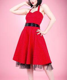 f78a00a00e2 HEARTS   ROSES LONDON Red   Black Pin Dot Halter Dress - Women   Plus
