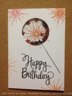 Stampin' Up! It'a a Celebration stamp set, shaker card, also uses Stylized Birthday stamp