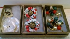 Vtg Jewelry Cluster Earring Mother of Pearl Button Floral Enamel Ring Mixed Lot