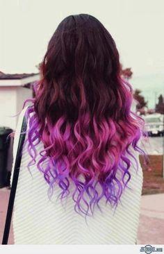 фиолетовое омбре фото на темные волосы