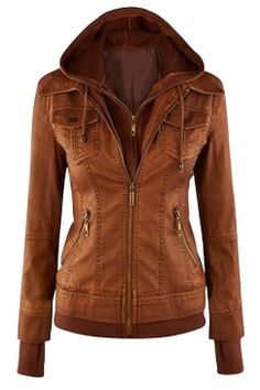 #Womens #Plain Long Sleeve with #Detachable #Hooded #Zippered #Jacket Brown