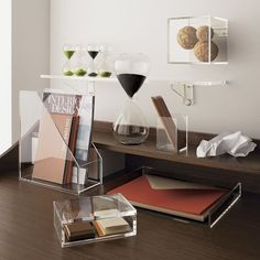 5 Ways To Use Acrylic Decor Throughout Your House // Home Office - See where all your papers and pens are with acrylic desk storage solutions.