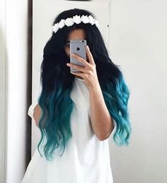 20 Balayage und Ombre Mermaid Hair Ideas To Rock - Frisuren - ombre haare Pretty Hair Color, Beautiful Hair Color, Beautiful Dream, Hair Dye Colors, Ombre Hair Color, Blue Ombre, Hair Colour, Pelo Color Azul, Teal Hair