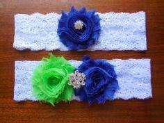Garter Wedding GarterRoyal Blue Garter Lime by BloomsandBlessings, $18.00