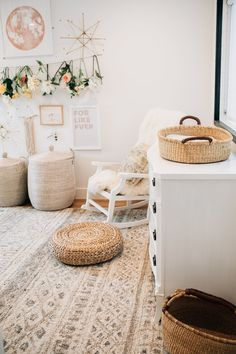 Find A Modern Mix of Neutral and Baby Bunny in This Sweet Nursery is part of Kid room decor Tour a neutral nursery that pairs modern with baby bunny details and the sweetest wicker rocking horse - Boho Nursery, Nursery Neutral, Nursery Room, Nursery Decor, Room Decor, Nursery Ideas, Neutral Baby Rooms, Whimsical Nursery, Nursery Modern