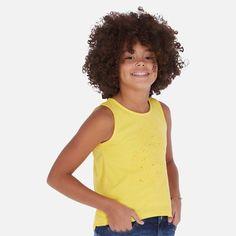 Koszulka Bawełniana Dla Dziewczynki Mayoral 6028-92 Żółty