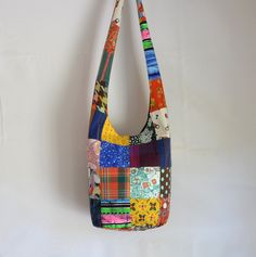 Patchwork Hobo Bag, Sling Bag, Large, Upcycled, Looks easy enough to make…