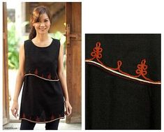 Embroidered Cotton Sleeveless Blouse - Layers in Black | NOVICA