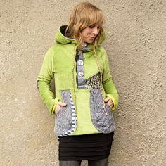Periwinkle Hoodie - bunda s voskovou batikou