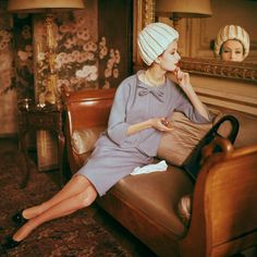 Grey skirt suti by Dior 1960, shot inside the home of Suzanne Luling, then director of Dior
