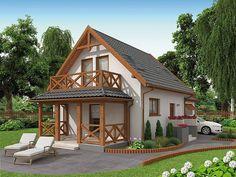 Projekt domu Orlean 5 dom letniskowy z poddaszem 57,43 m2 - koszt budowy 67 tys. zł - EXTRADOM Garden Cabins, Pintura Exterior, Modern Bungalow House, Loft Interior Design, Loft Interiors, Apartment Layout, House Elevation, Small House Design, Tiny House Plans