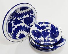 """Jinane 5 Piece 12"""" Pasta Bowl with 4 Pasta Bowls 9.5"""" Set by Le Souk Ceramique  #LeSoukCeramique"""