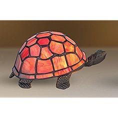 SALE! Beautiful Orange Tiffany Inspired Turtle / Tortoise Decorative Electric Bedside Table Lamp