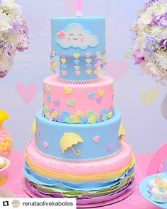 Tema que chegou chegando Chuva de amor por @renataoliveirabolos #bolochuvadeamor #bolodemenina #festademenina #festachuvadeamor #inspiracaodebolo Baby Cakes, Baby Shower Cakes, Cupcake Cakes, Birthday Cake Girls, Birthday Parties, Raindrop Baby Shower, Pinata Cake, Pony Cake, Diy Wedding Cake