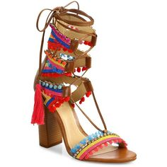 Schutz Calla Jeweled Leather Lace-Up Block-Heel Sandals ($250) ❤ liked on Polyvore featuring shoes, sandals, heels, apparel & accessories, bamboo, block-heel sandals, multi colored sandals, multi color sandals, lace-up sandals and lace up heel sandals