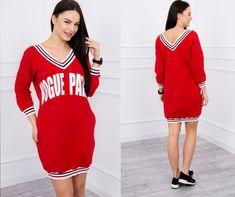 f46cd68780c4 Dámske športové šaty s v-čkovým výstrihom červené