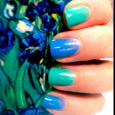 "I polished my nails to match my Van Gogh Coffee Mug! ""Irisies"""