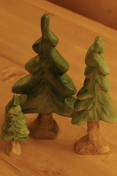 wooden trees, Christmas painting inspiration