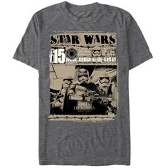 Take down the Resistance with the Star Wars First  Stormtrooper Elite Squad Heather Charcoal T-Shirt! Captain Phasma leads her Elite Squad of Stormtroopers  on the front of this awesome gray Star Wars Episode 7 T-shirt.