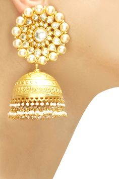 Gold plated round pearl jhumkis available only at Pernia's Pop-Up Shop