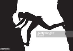 Vector Art : Climber on Rock in Silhouette