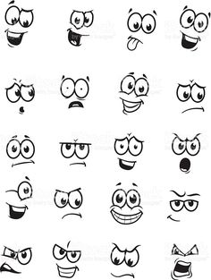 of 20 cartoon faces royalty-free stock vector art Art Vector drawings of different expressions/emotions.Set of 20 cartoon faces royalty-free stock vector art Art Vector drawings of different expressions/emotions. Doodle Drawings, Easy Drawings, Doodle Art, Simple Cartoon Drawings, Cartoon Eyes Drawing, Drawing Cartoons, Funny Drawings, Face Expressions, Funny Faces