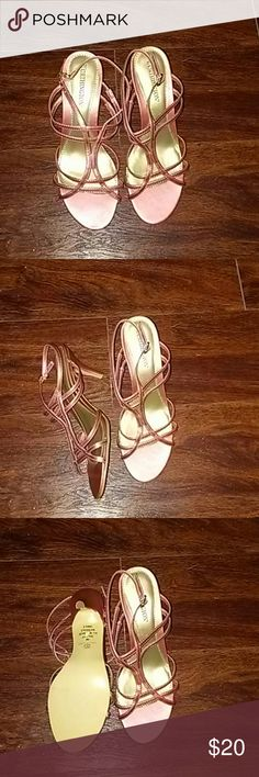 NWOT Worthington Sandals These cute kitten heel sandals have never been worn. They are a beautiful metallic pink color and have an adjustable strap. Worthington Shoes Sandals