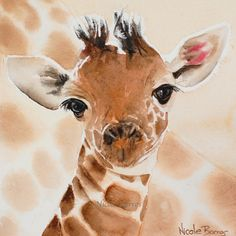 Baby Giraffe Baby room decor baby wall art by NicoleBarrosArt Giraffe Painting, Giraffe Art, Baby Wall Art, Nursery Wall Art, Nursery Decor, Kids Prints, Wall Art Prints, Watercolor Animals, Watercolor Paintings