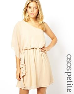 ASOS PETITE One Shoulder Drape Dress