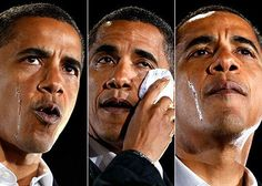 Barack Obama sheds tears as he talks about his grandmother, Madelyn Payne Dunham, at a rally in Charlotte, North Carolina. Photo: AP