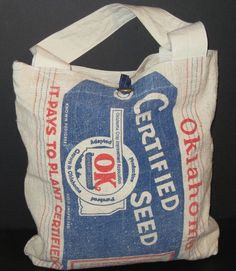 Oklahoma Tote Bag Upcycled from Vintage Feed Sack