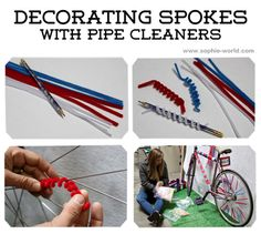 Decorating bike spokes with pipe cleaners