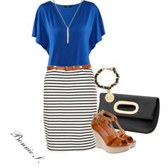 striped skirt, created by bonnaroosky on Polyvore