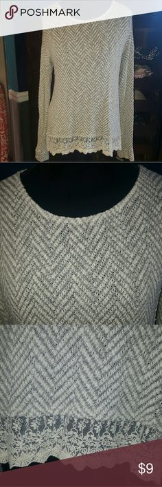 Wet seal lightweight sweater with lace Lightweight lobg sleeve sweater. With lace edging on very good condition. Wet Seal Sweaters
