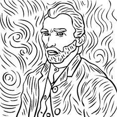coloring page Vincent van Gogh KidsnFun Colour me