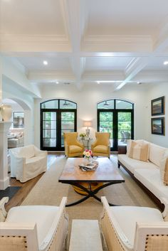 New doors and coffered ceiling transformed to too tall space. #foryourhome