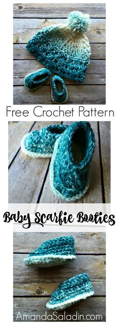 Scarfie baby booties are simple and stylish baby shoes that works for both boys and girls. Free crochet pattern for three sizes: 0-3, 3-6, and 6-12 months.